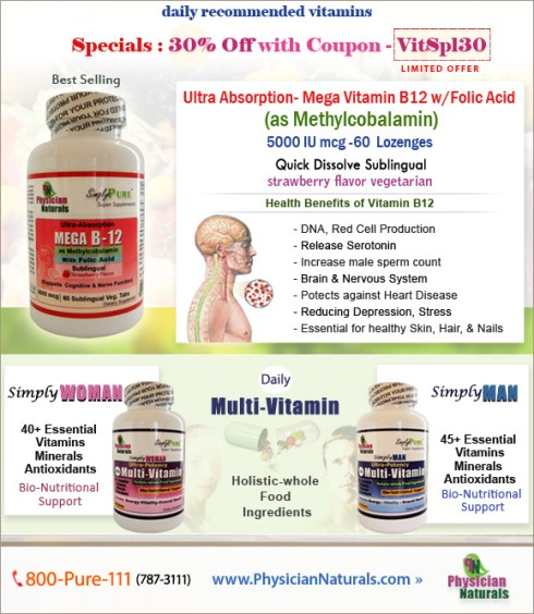 Buy vitamin B12 supplements at PhysicianNaturals
