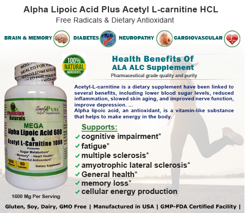 Health Benefits Of Alpha Lipoic Acid Plus Acetyl L-carnitine HCL 1600 Mg
